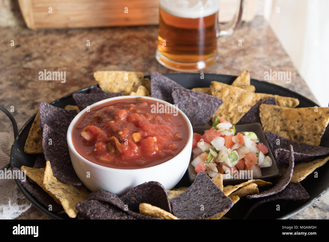 Platter Of Chips Pico De Gallo Salsa And Beer Stock Photo Alamy