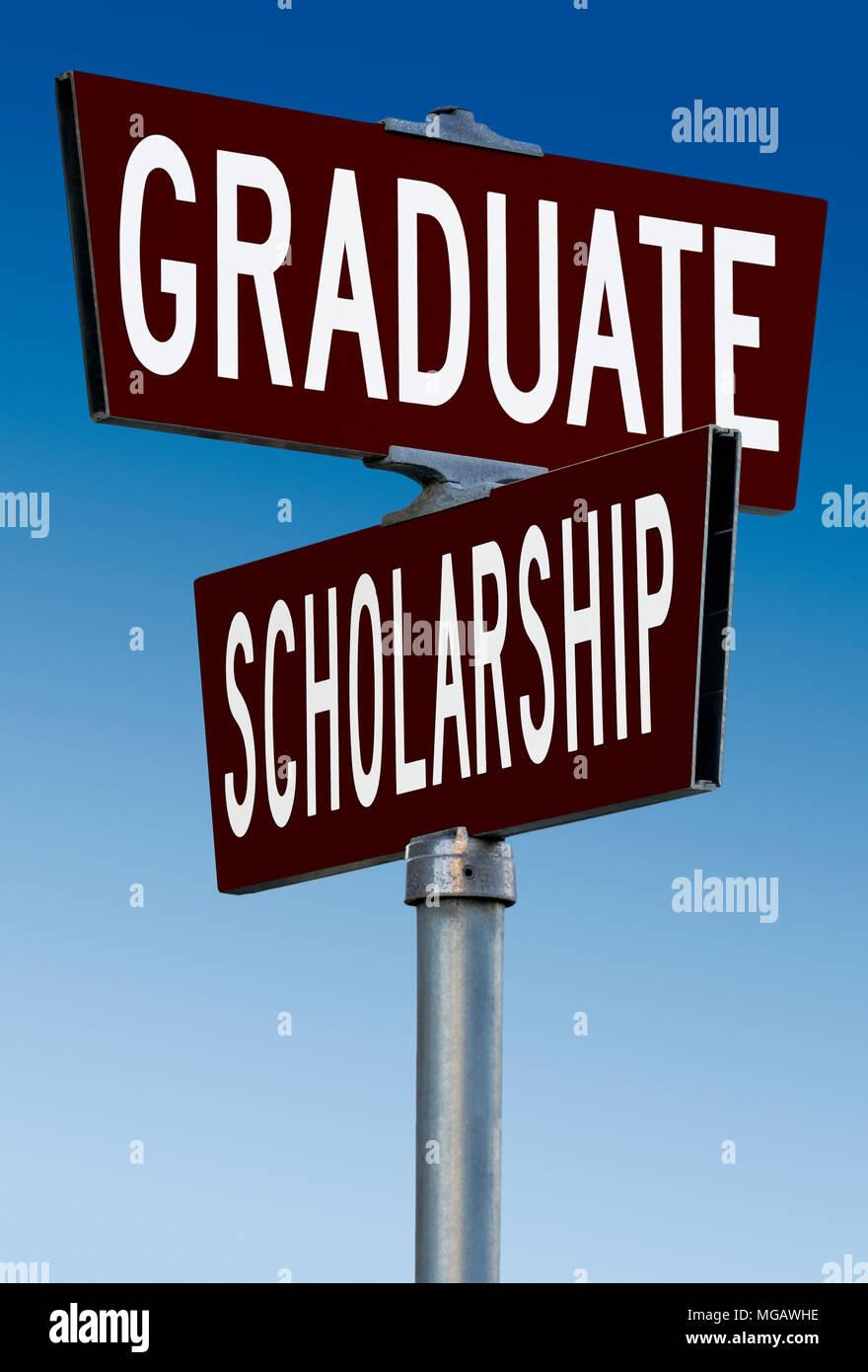 Academic signpost: Graduate and Scholarship - Stock Image