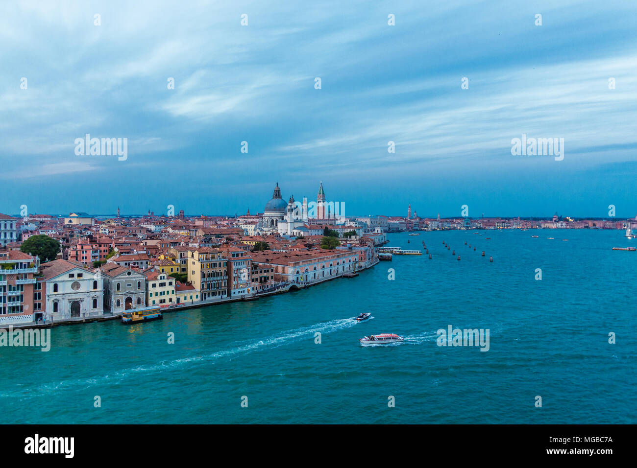 A Quiet Afternoon on the Main Canal in Venice - Stock Image
