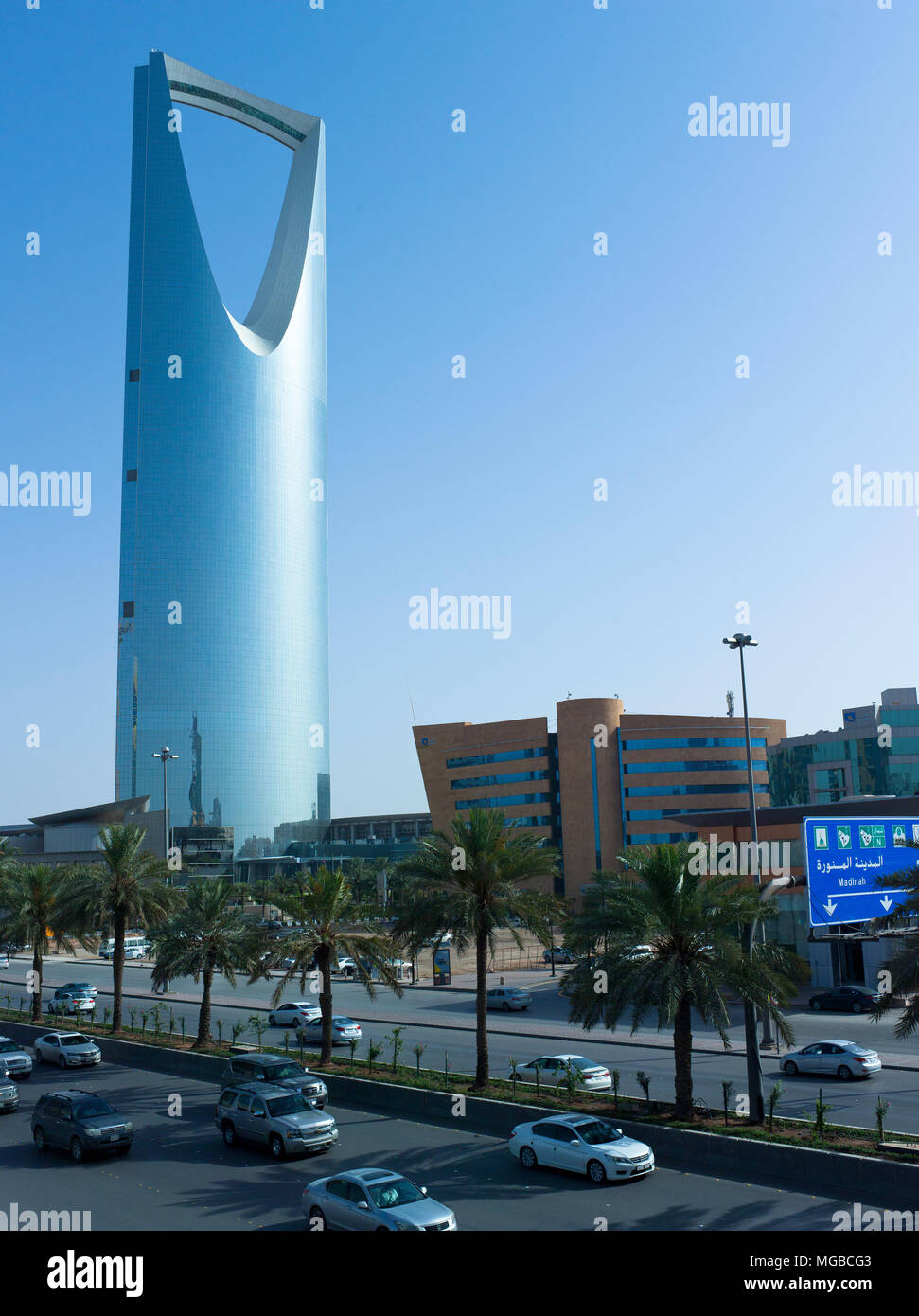 This April Only Around One Million Foreign Workers Have Left Saudi Arabia For Good, Which Explains This Light Traffic on King Fahad Road Early in The  - Stock Image