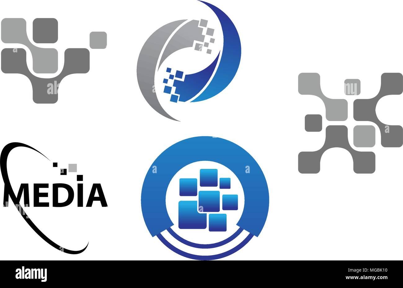 Technology Transfer Media Template Set Stock Vector Art - Mediatemplate