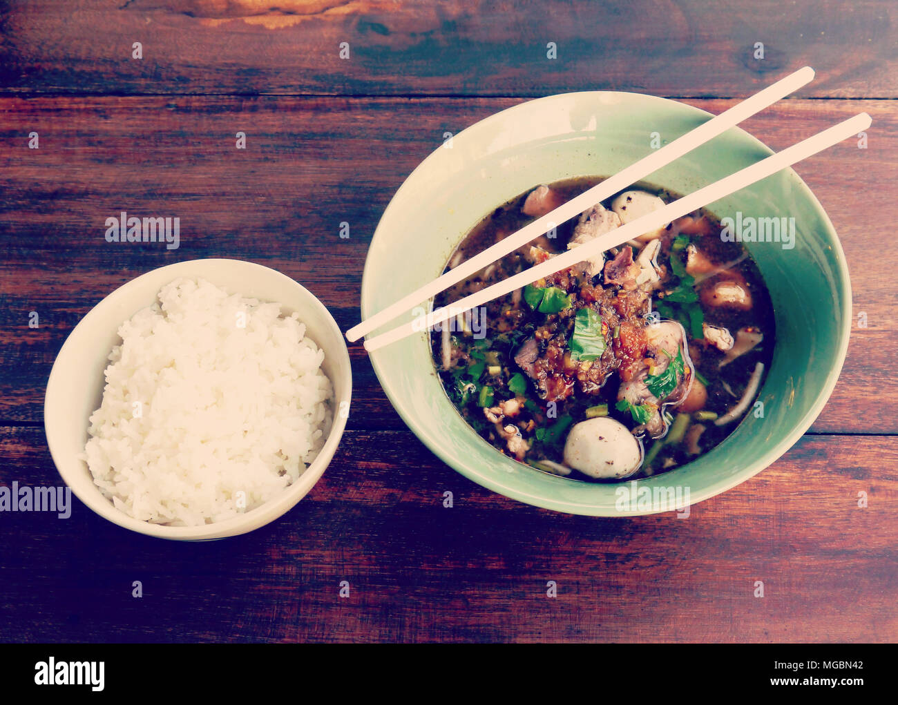 noodle and rice old vintage retro style - Stock Image