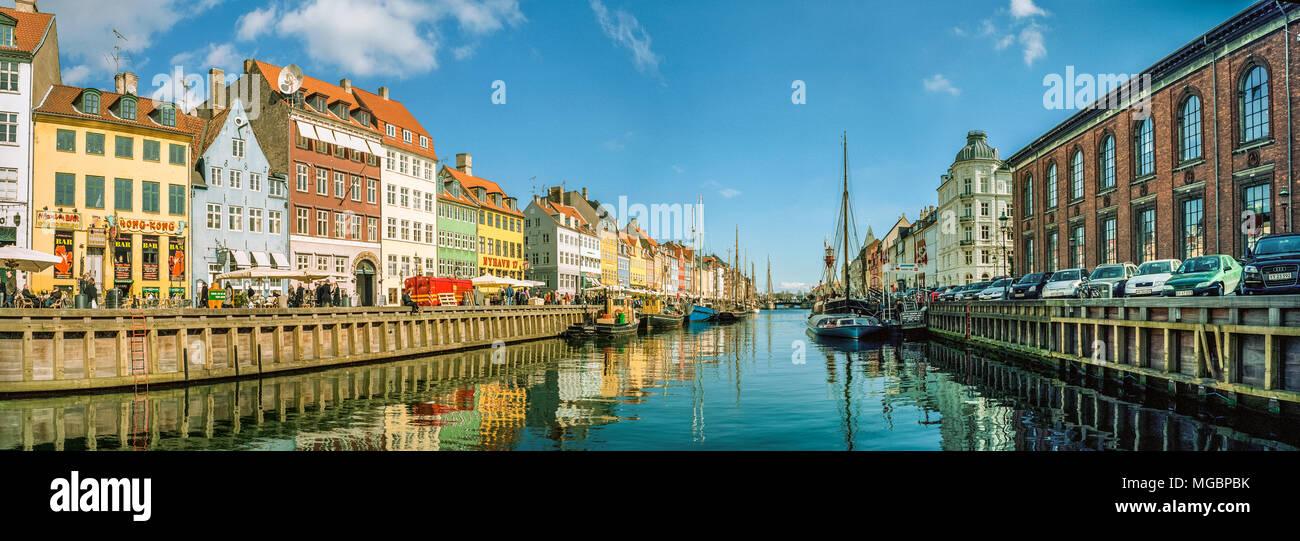 Panorama of Nyhavn canal, Copenhagen (Kobenhavn), Denmark - Stock Image