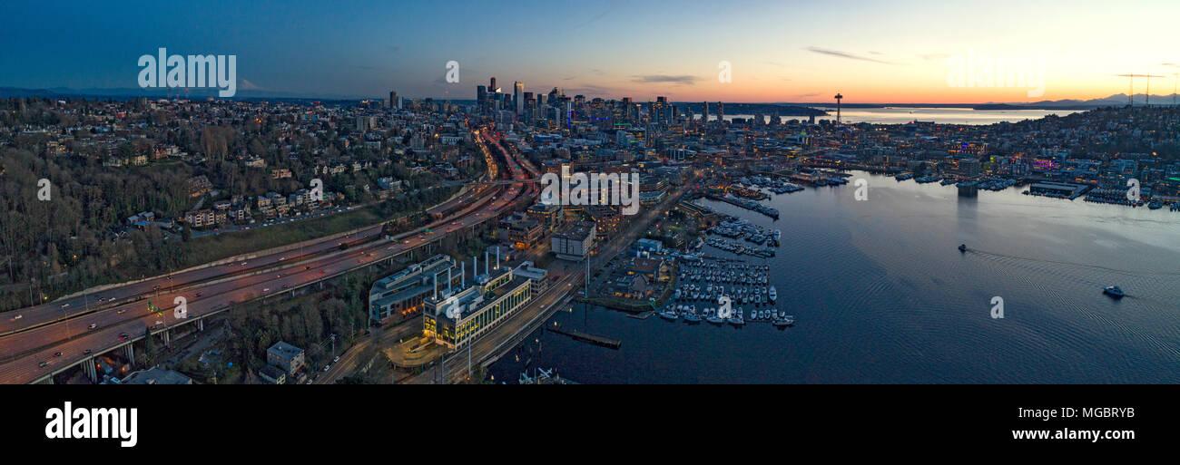Seattle Lake Union Downtown Waterfront San Juan Islands Aerial Panoramic View Vivid Sunset Stock Photo
