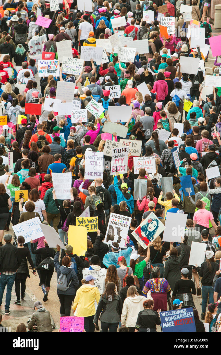 Thousands of protesters express their displeasure with the presidential election, in the March For Women on January 21, 2016 in Atlanta, GA. - Stock Image