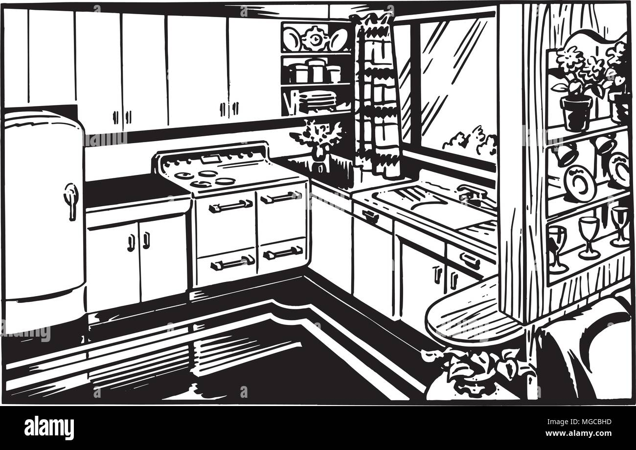 Retro Kitchen Retro Clipart Illustration Stock Vector Art