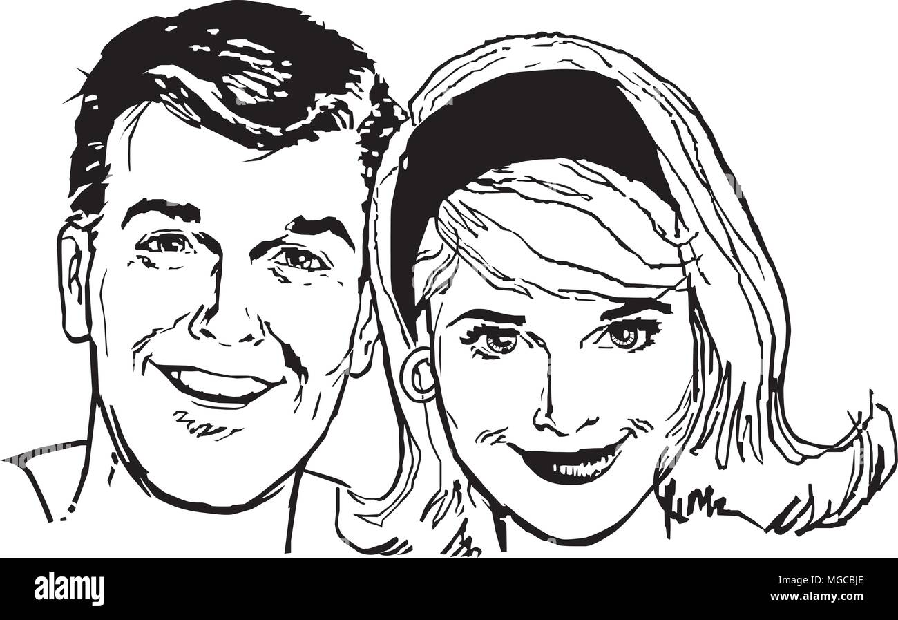 Retro People - Retro Clipart Illustration - Stock Image