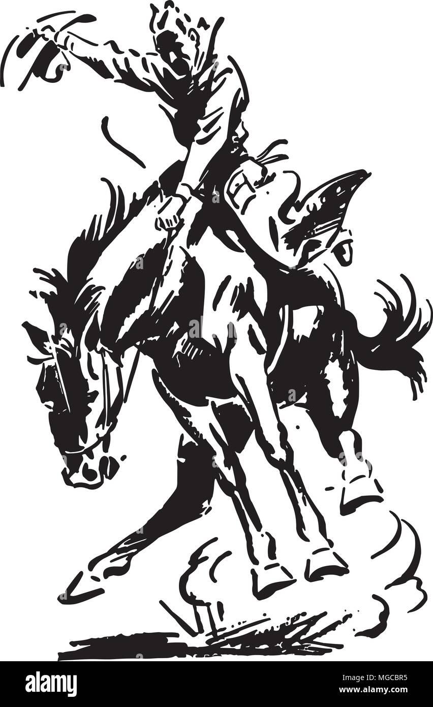 Rodeo Rider - Retro Clipart Illustration Stock Vector