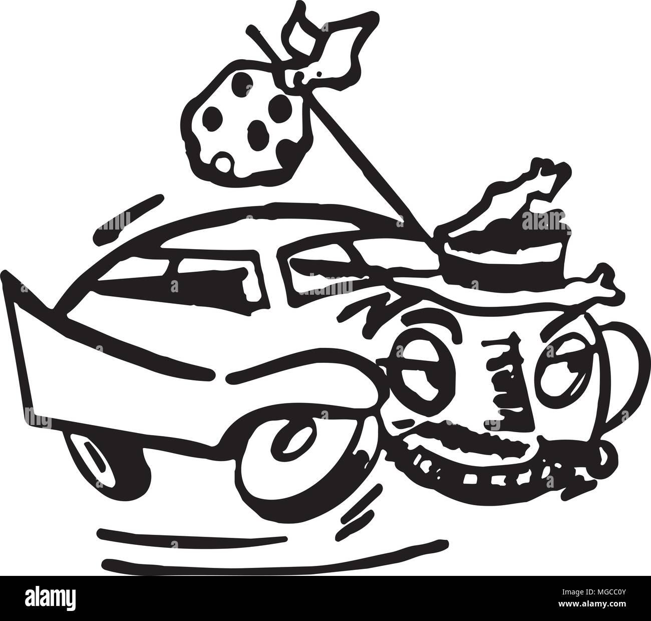 Runaway Car - Retro Clipart Illustration - Stock Vector