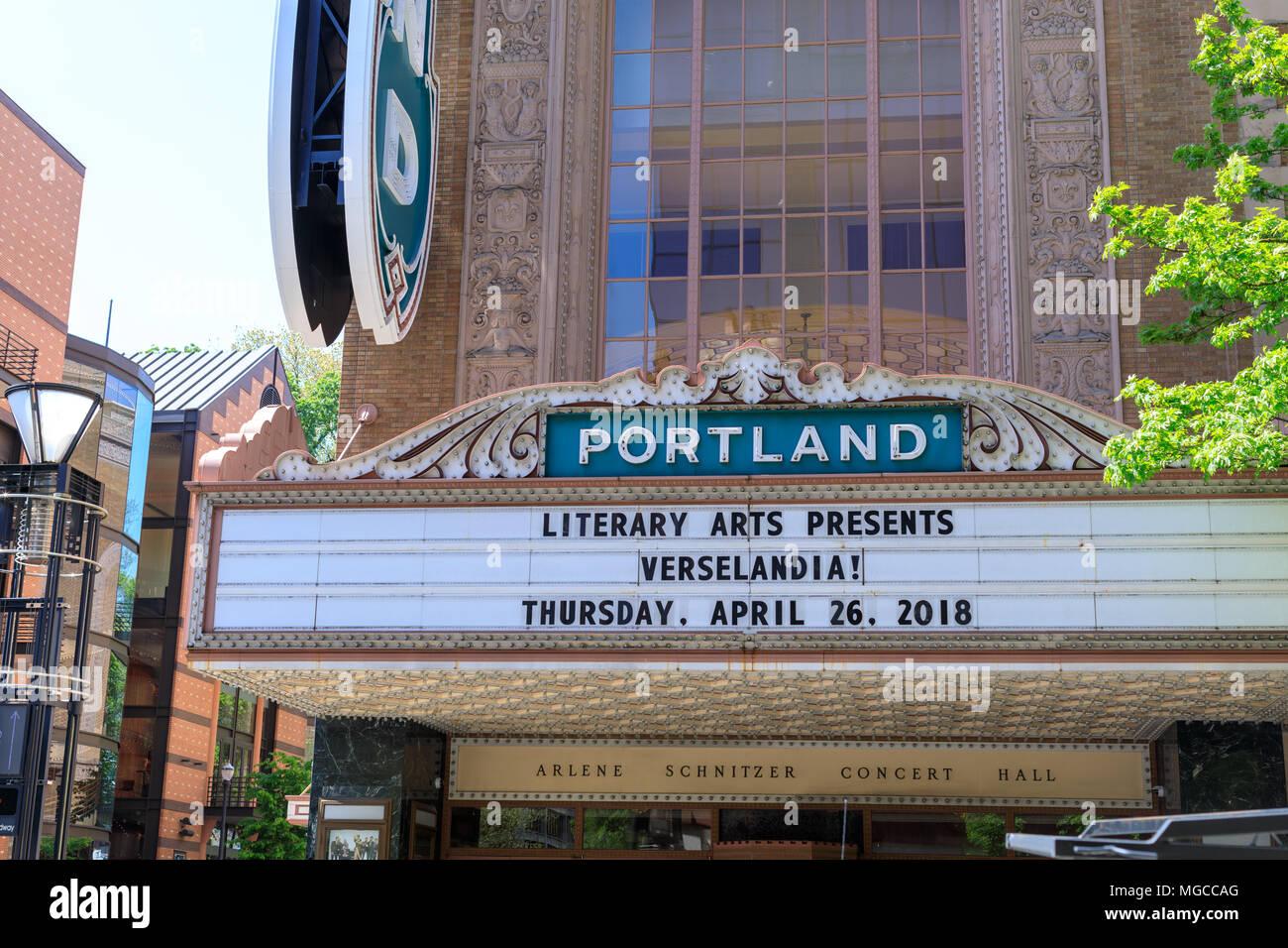 Historic downtown Portland Oregon Sign Stock Photo