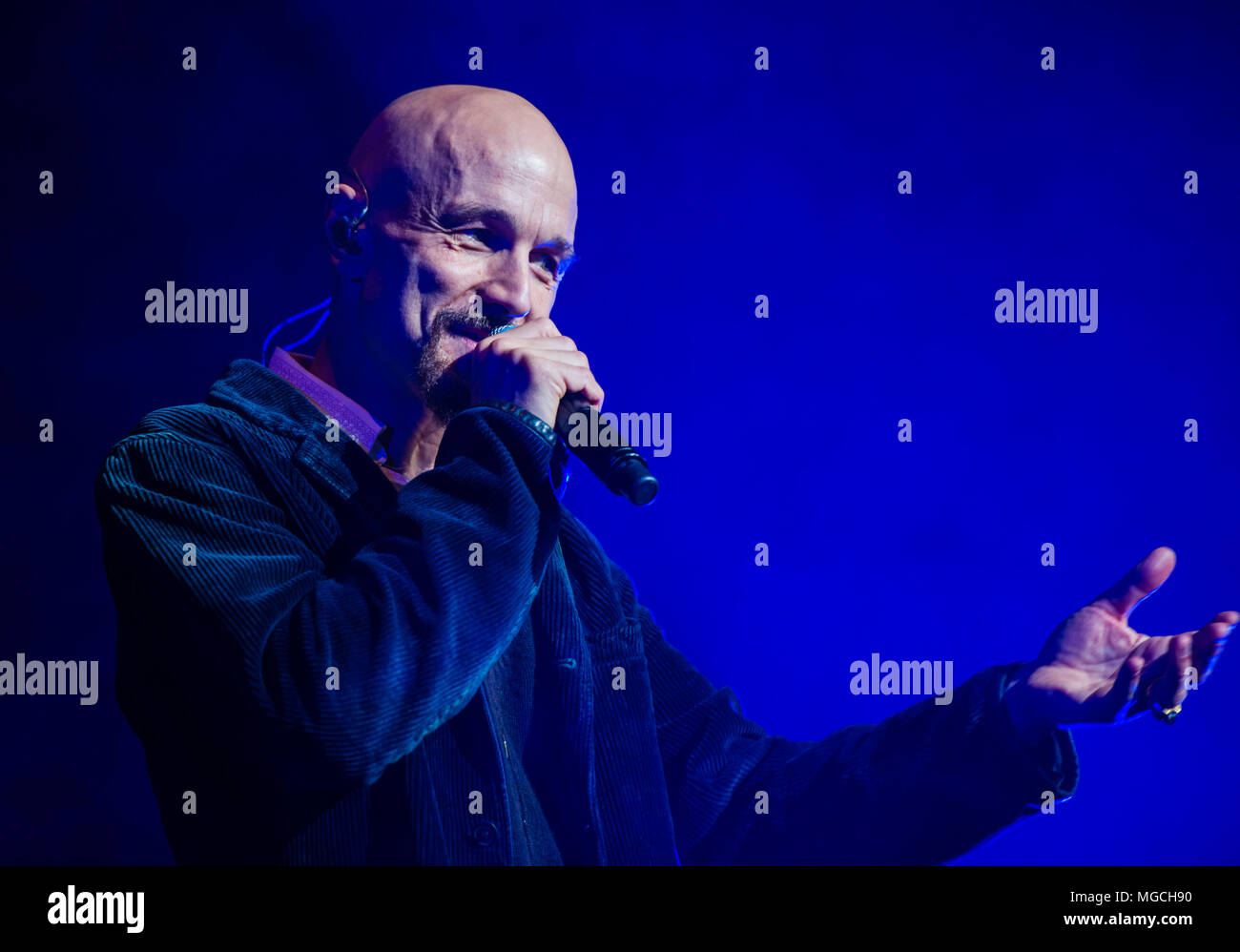 Tim Booth from the band James, performing live at the Deer Shed Festival, Baldersby Park, near Topcliffe in North Yorkshire, 23rd November 2014 - Stock Image