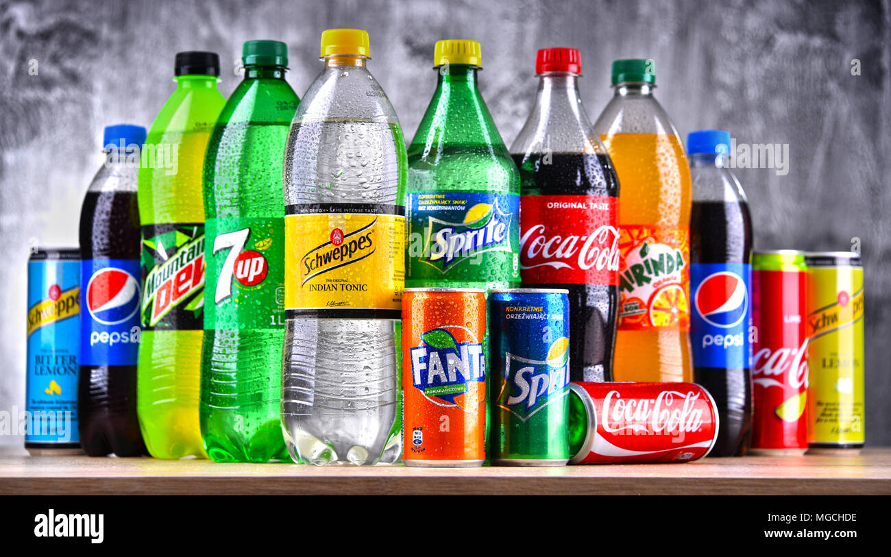 POZNAN, POLAND - APR 6, 2018: Bottles of global soft drink