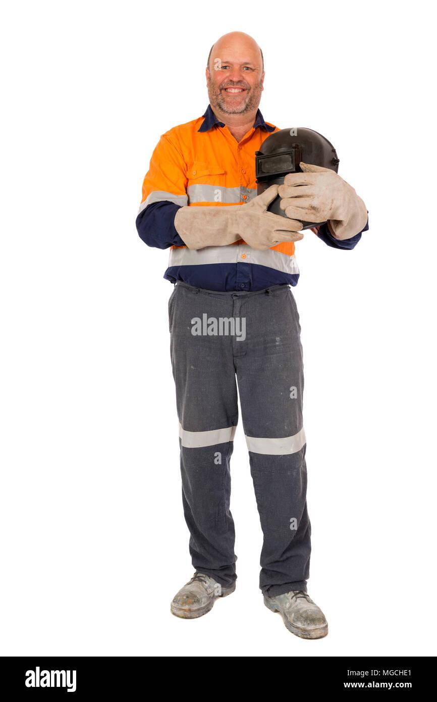 A middle aged Boiler maker Welder posing for the camera, on white. - Stock Image