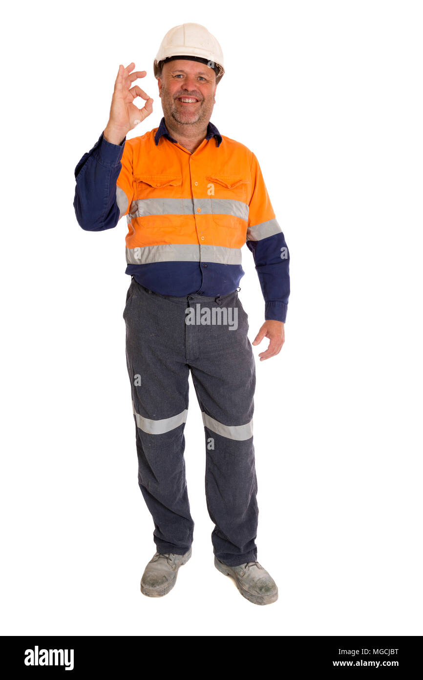 A real worker giving a confident okay signal. - Stock Image