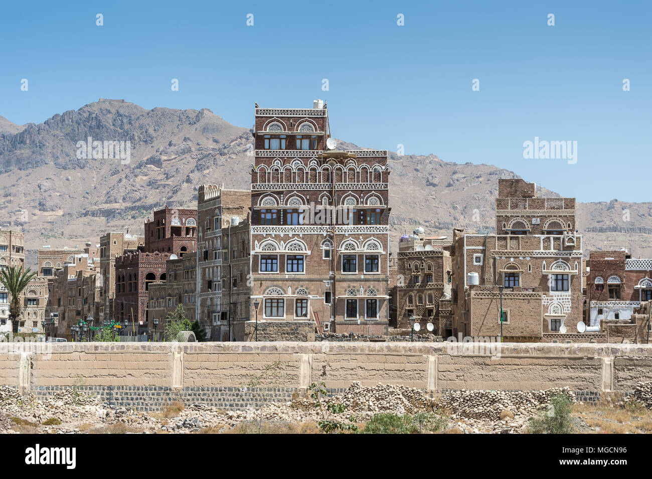 Architecture of Sana'a, the capital of Yemen. - Stock Image