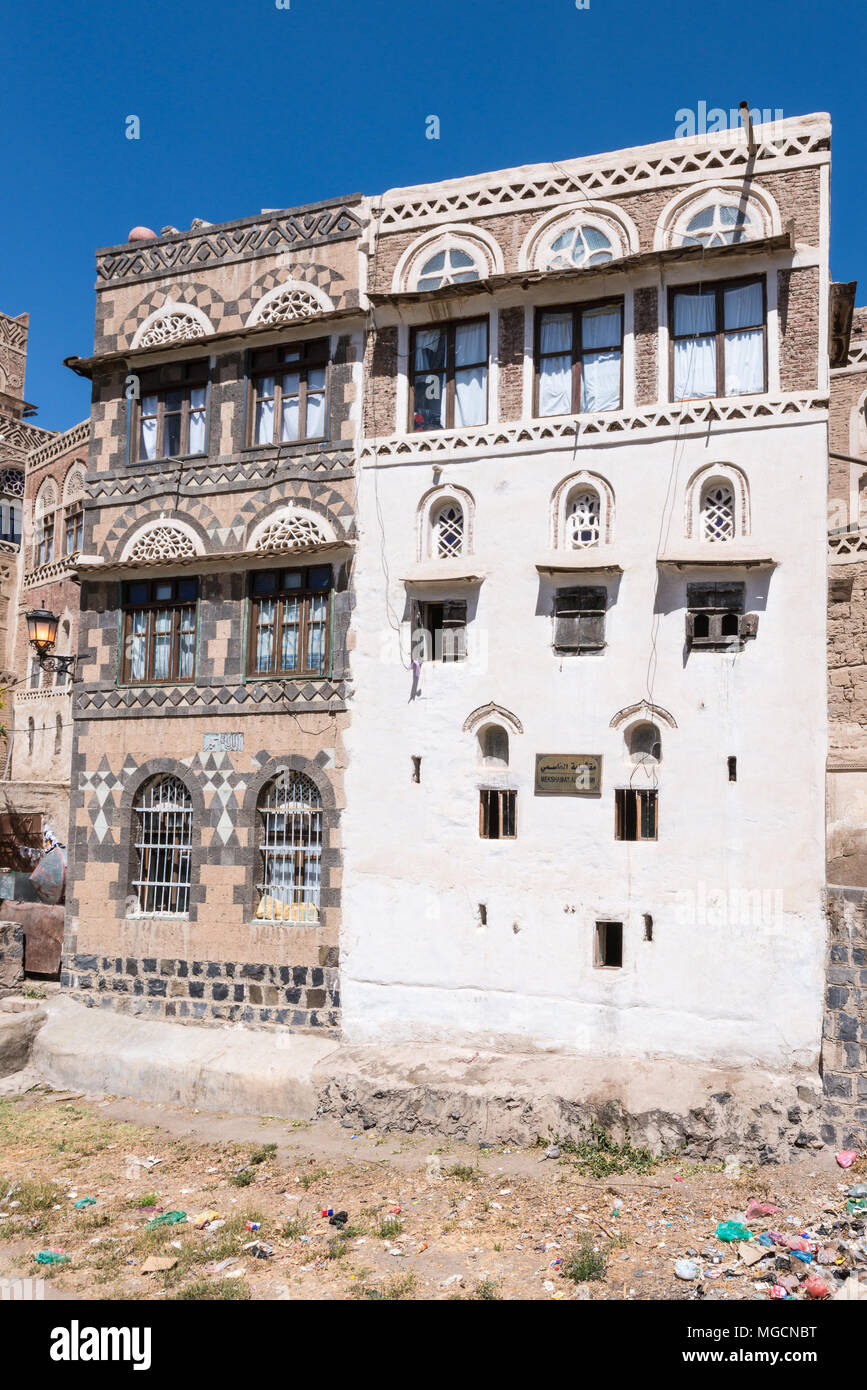 Architecture of the capital of Yemen, Sana'a - Stock Image