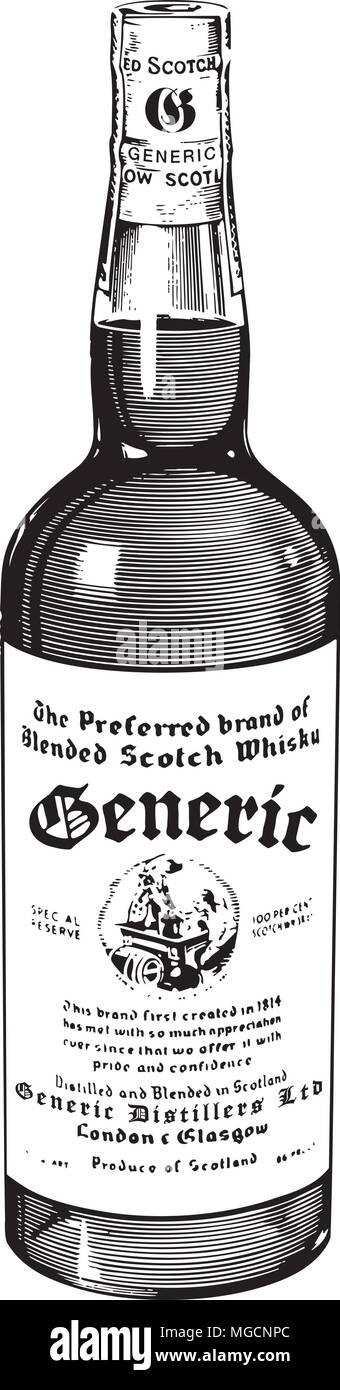 Scotch Whiskey - Retro Clipart Illustration Stock Vector