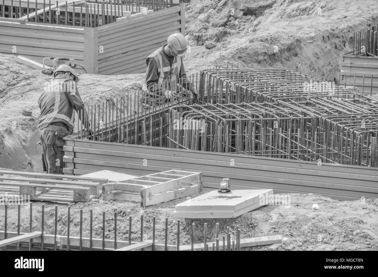 Steel Benders At Work - Stock Image