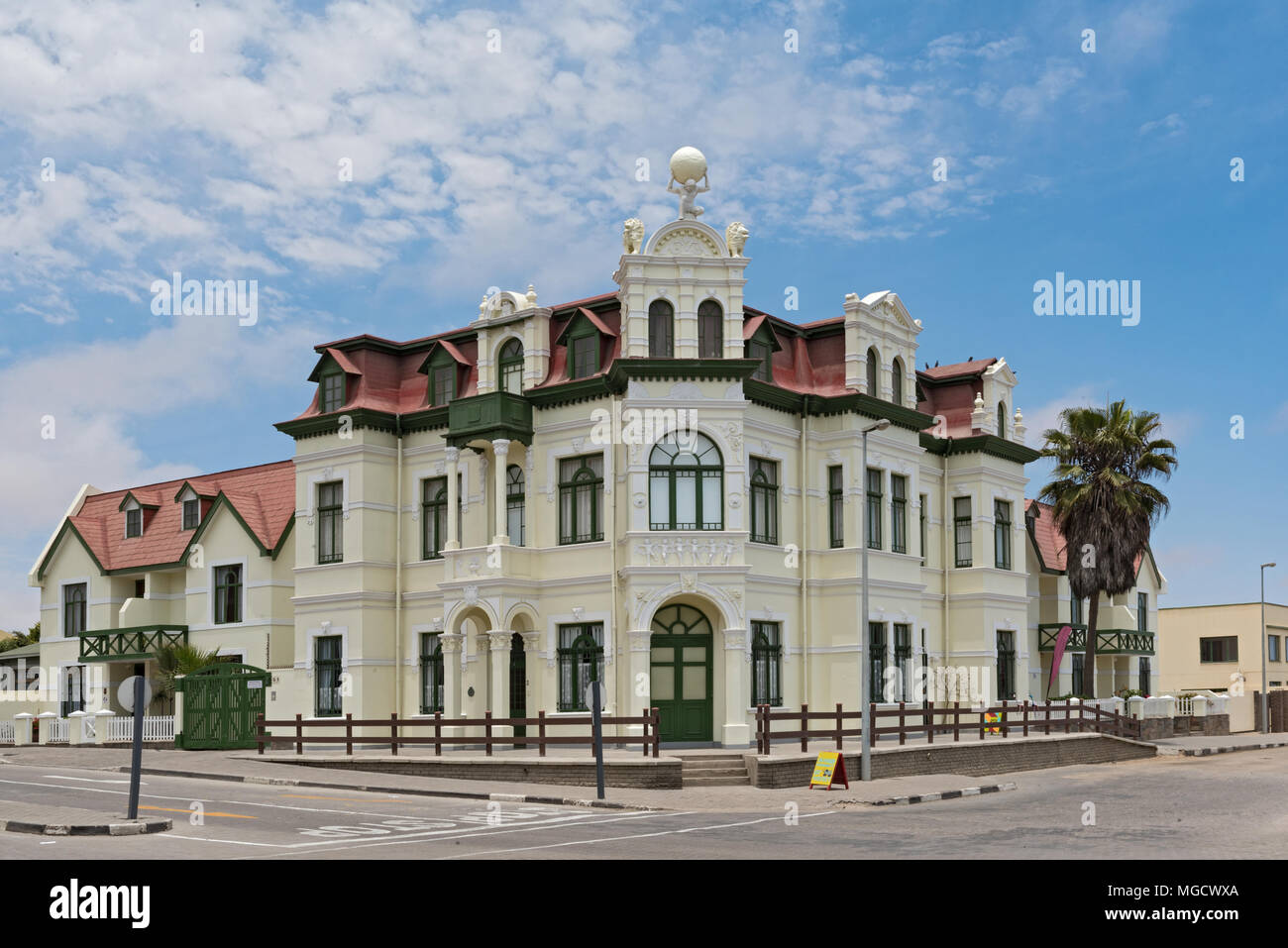 The Hohenzollernhaus, monument and landmark of the city Swakopmund, Namibia - Stock Image