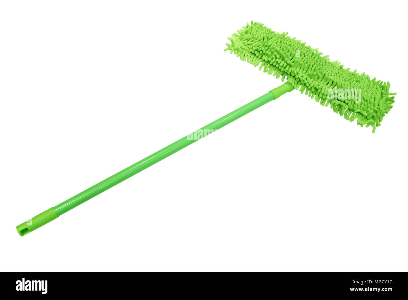 Green Microfiber mop with a plastic handle isolated on white background. - Stock Image