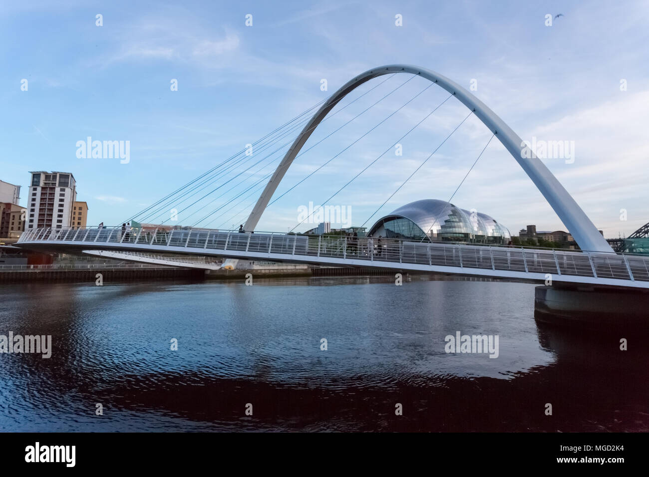 Newcastle United Kingdom May 23 2015 The Gateshead Millennium Bridge A Tilt Bridge Spanning The Tyne River In Newcastle And Gateshead Stock Photo Alamy