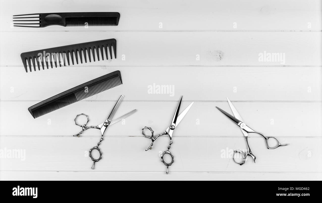 Professional haircut combs and scissors slider image with copy text area for hairstyle and barber saloon. - Stock Image