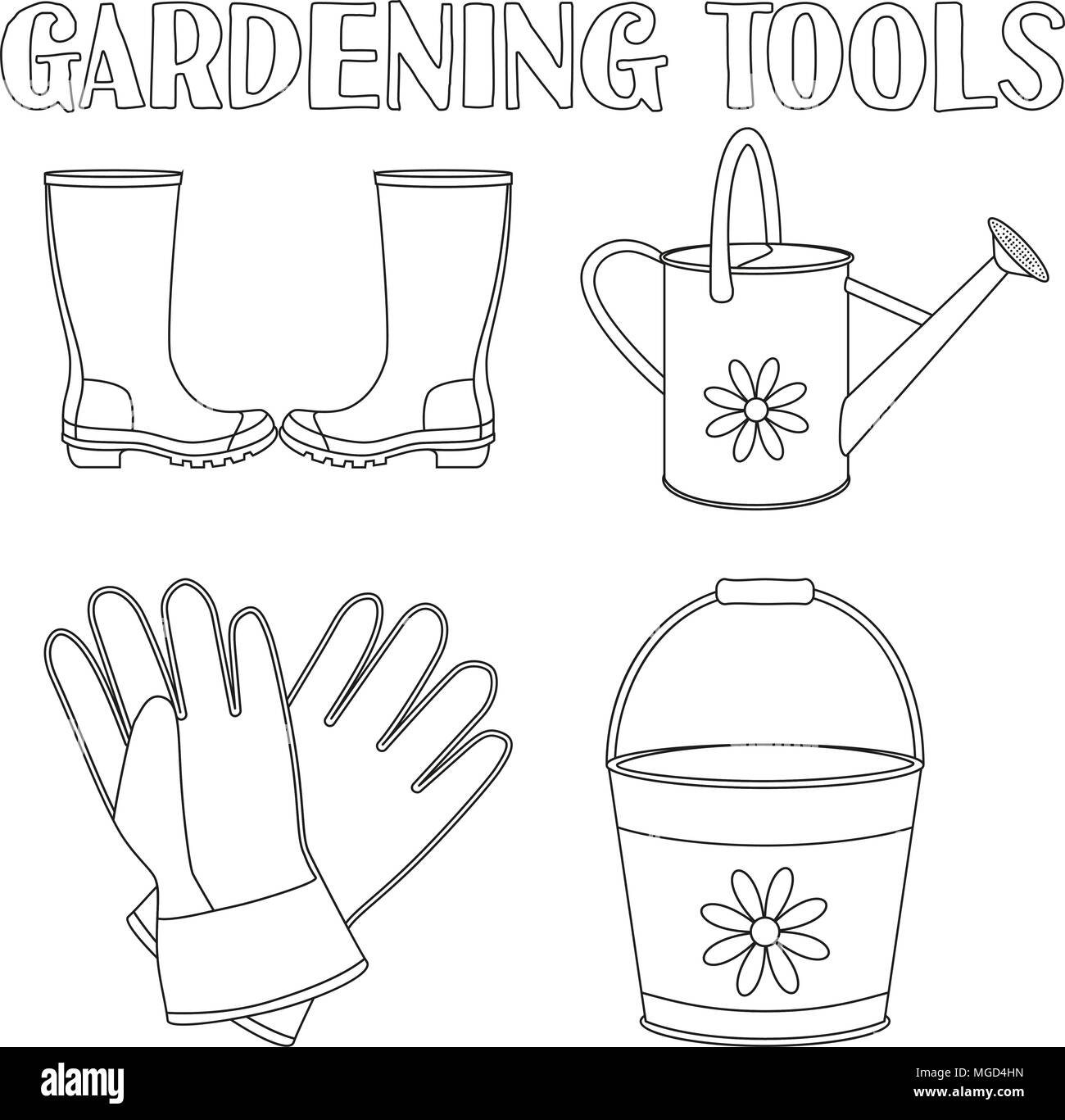 Black And White Garden Watering 4 Elements Set Coloring Book Page For Adults Kids Gardening Tool Vector Illustration Gift Card Certificate S