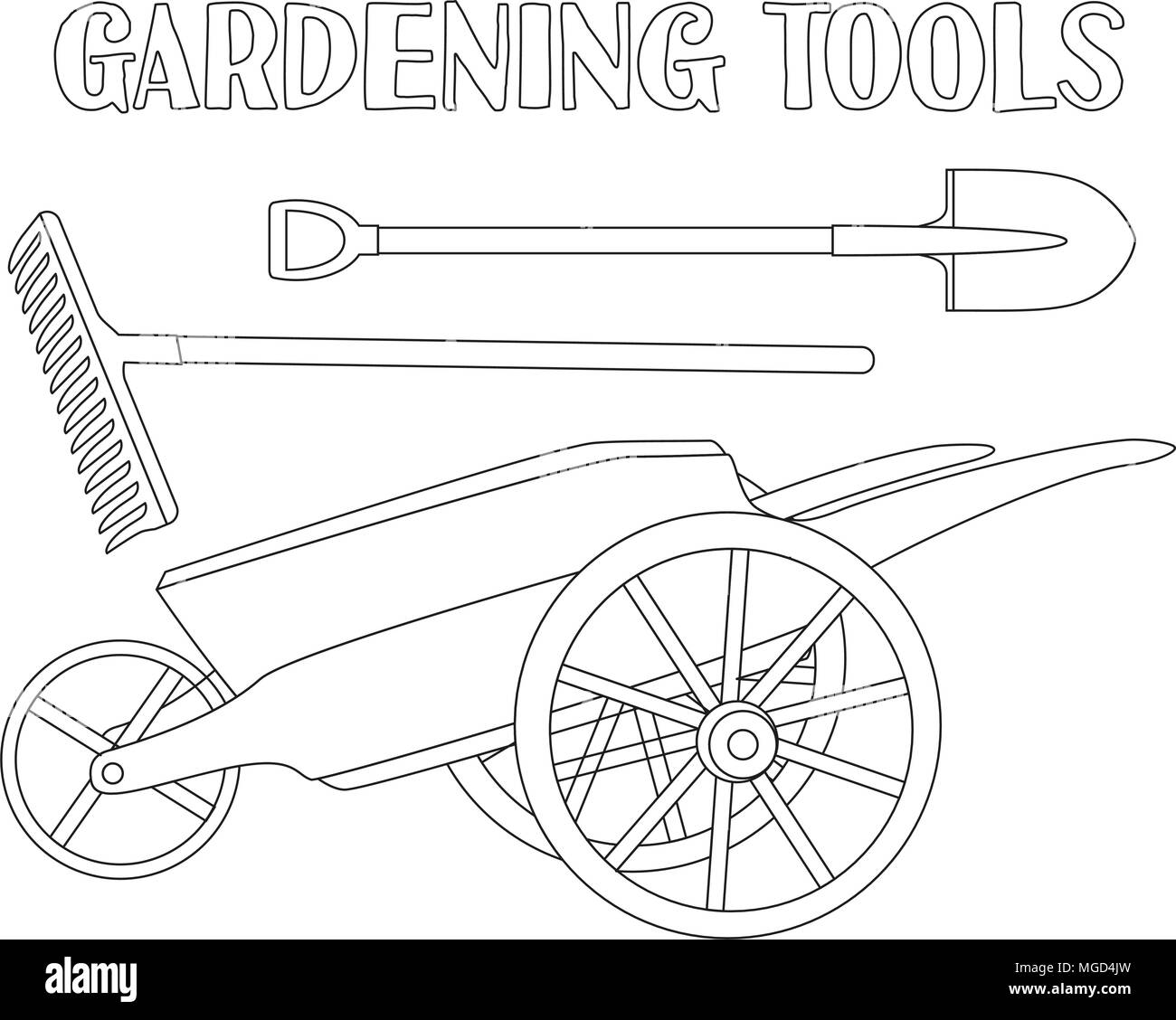 Line Art Black And White Garden Care Toolls Set Shovel Rake Wheelbarrow Coloring Book Page For Adults Kids Tool Vector Illustration