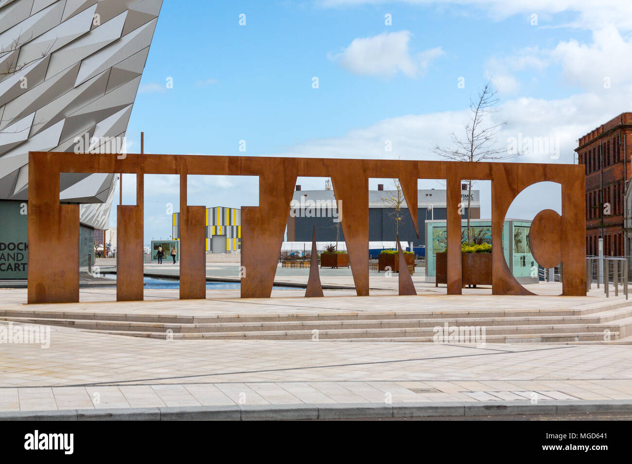 Belfast/N. Ireland - May 31, 2015: At the dock where the Titanic was built is a museum commemorating the iconic vessel. Stock Photo