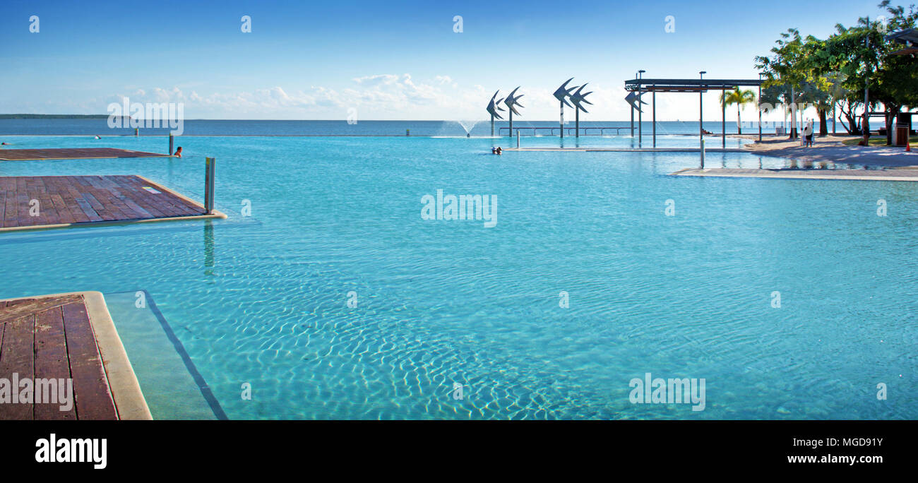 Cairns Esplanade public swimming lagoon on the edge of the Great Barrier Reef in Queensland Australia Stock Photo