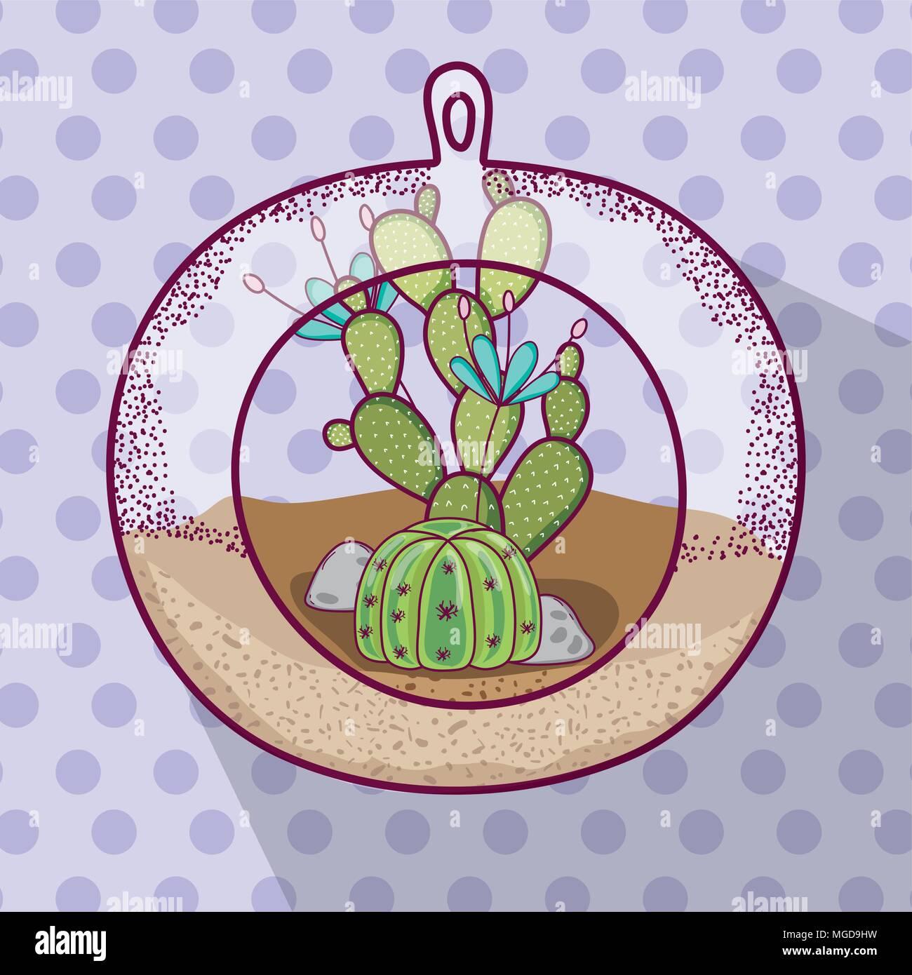 Plant inside Polyhedron glass - Stock Image