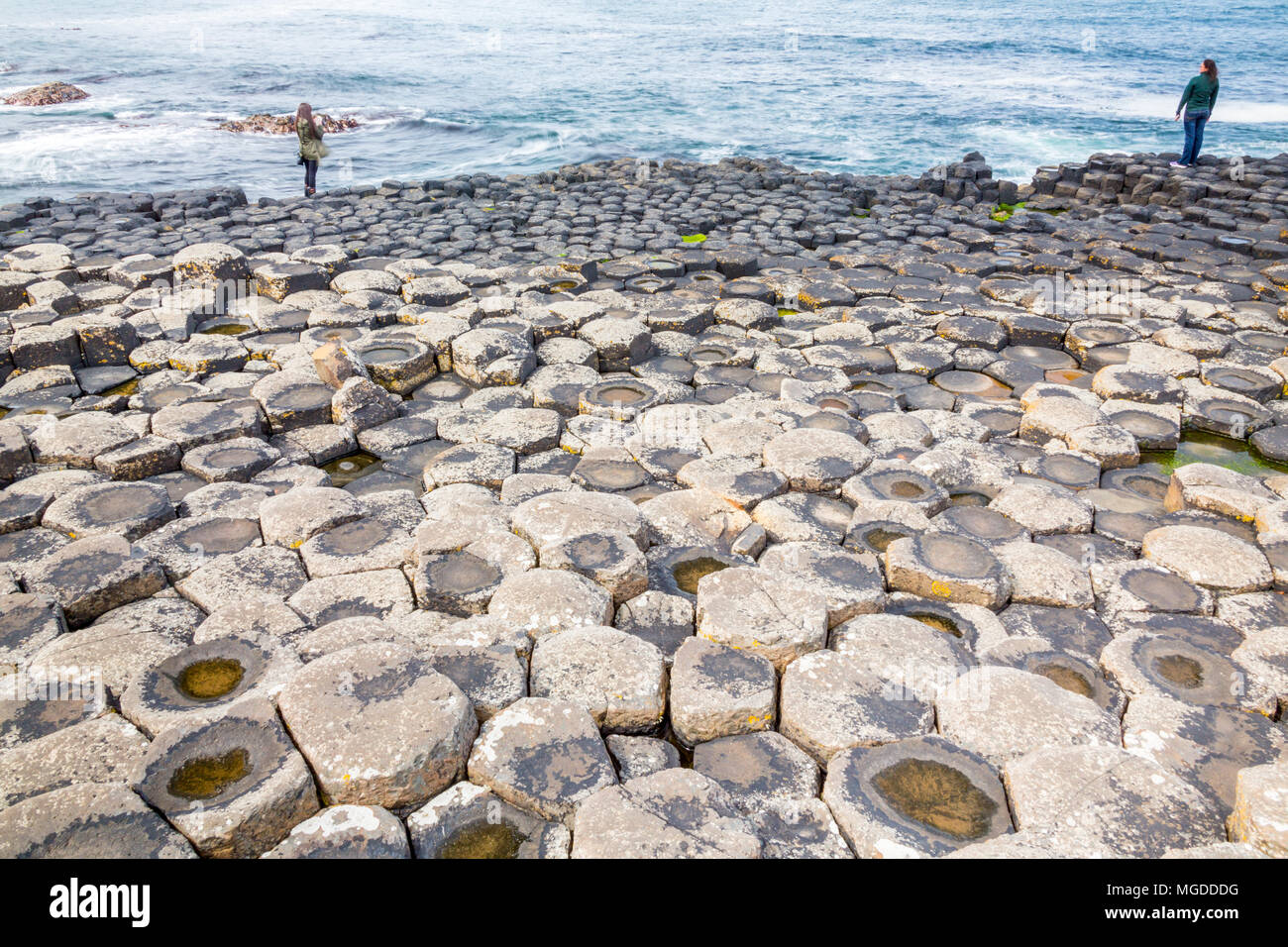 Antrim/N. Ireland - May 30, 2015: Giant's Causeway, a natural wonder produced by volcanic, hexagonal basalt rock flowing into the ocean . Antrim. - Stock Image