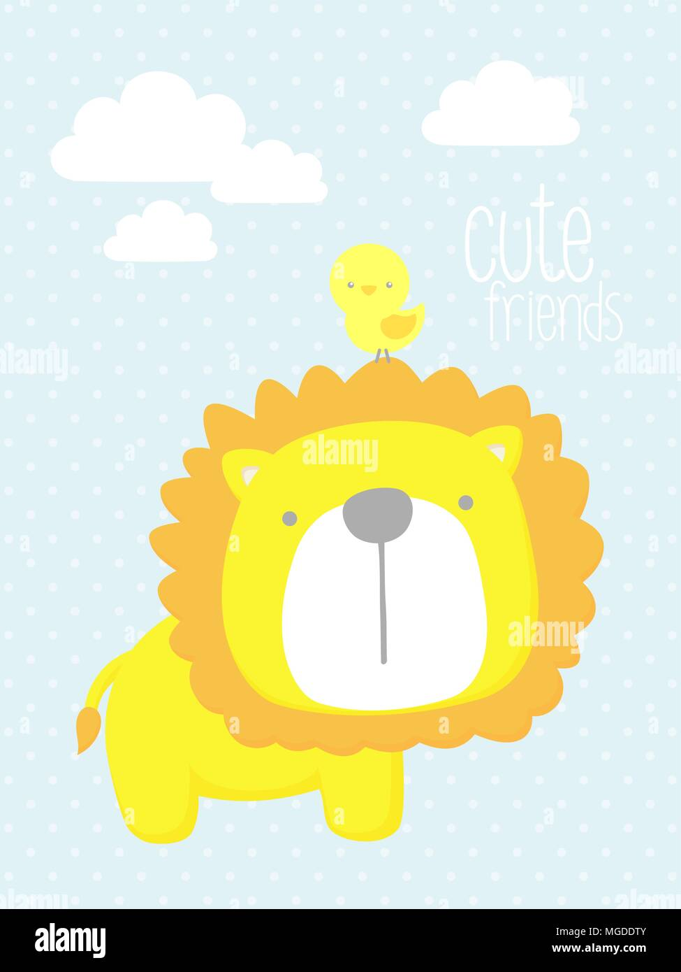 cute baby lion with little bird and design elements. design for baby ...