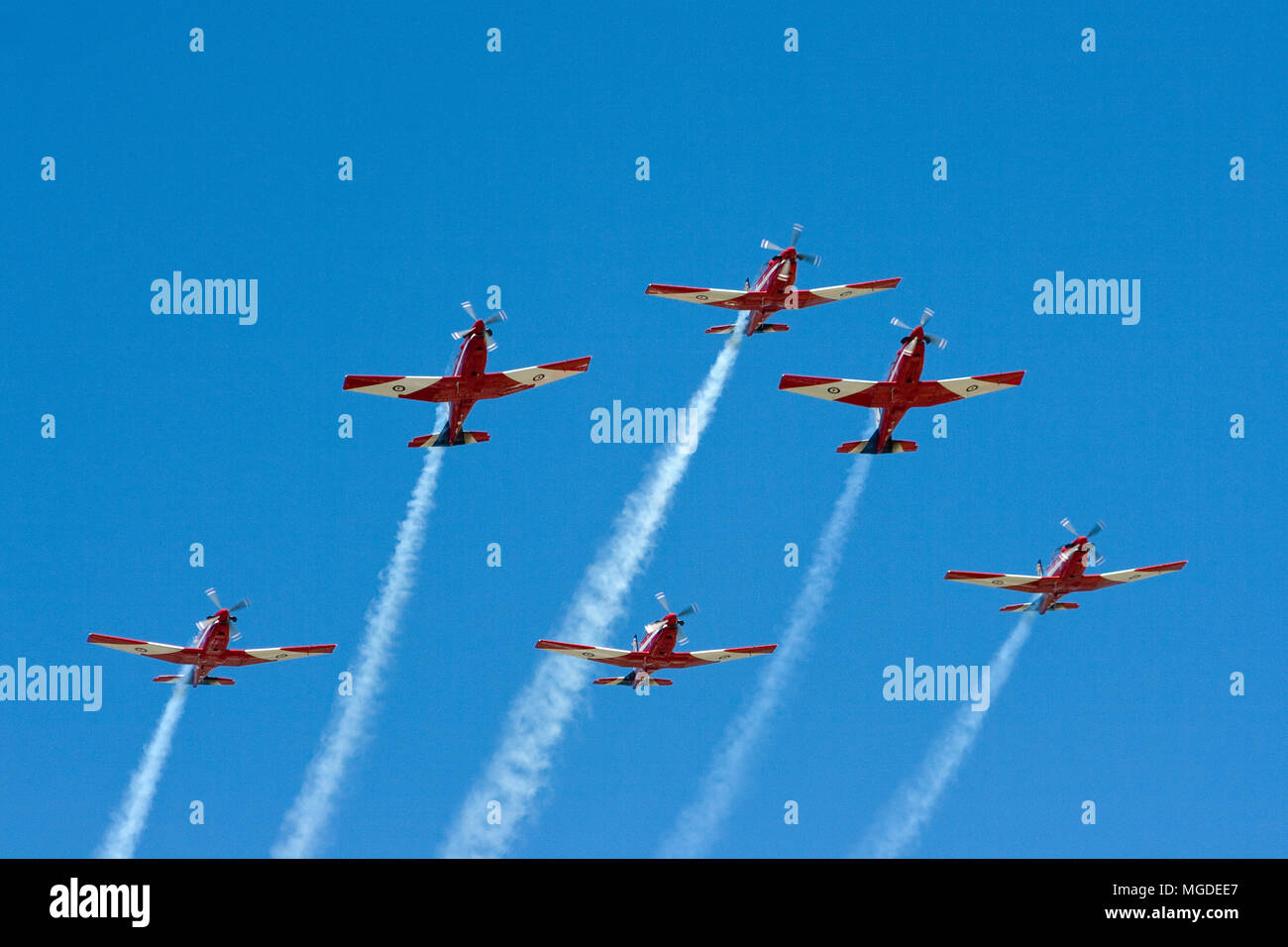 The Royal Australian Air Forces aerobatic team the Roulettes on 20th March 2009 in Adelaide South Australia - Stock Image