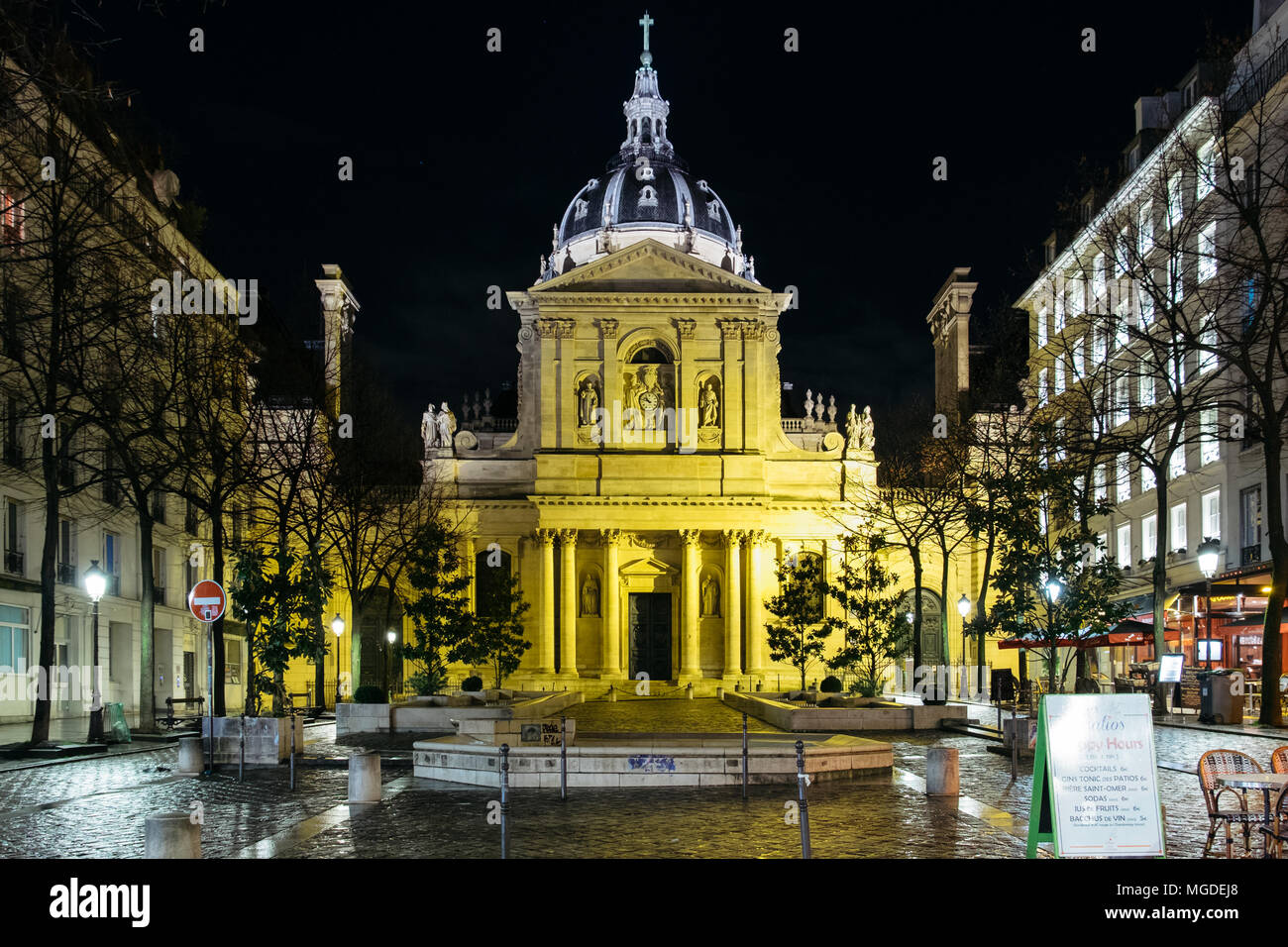 Paris, France. February 11, 2018. The chapel of the Sorbonne University at night. Stock Photo