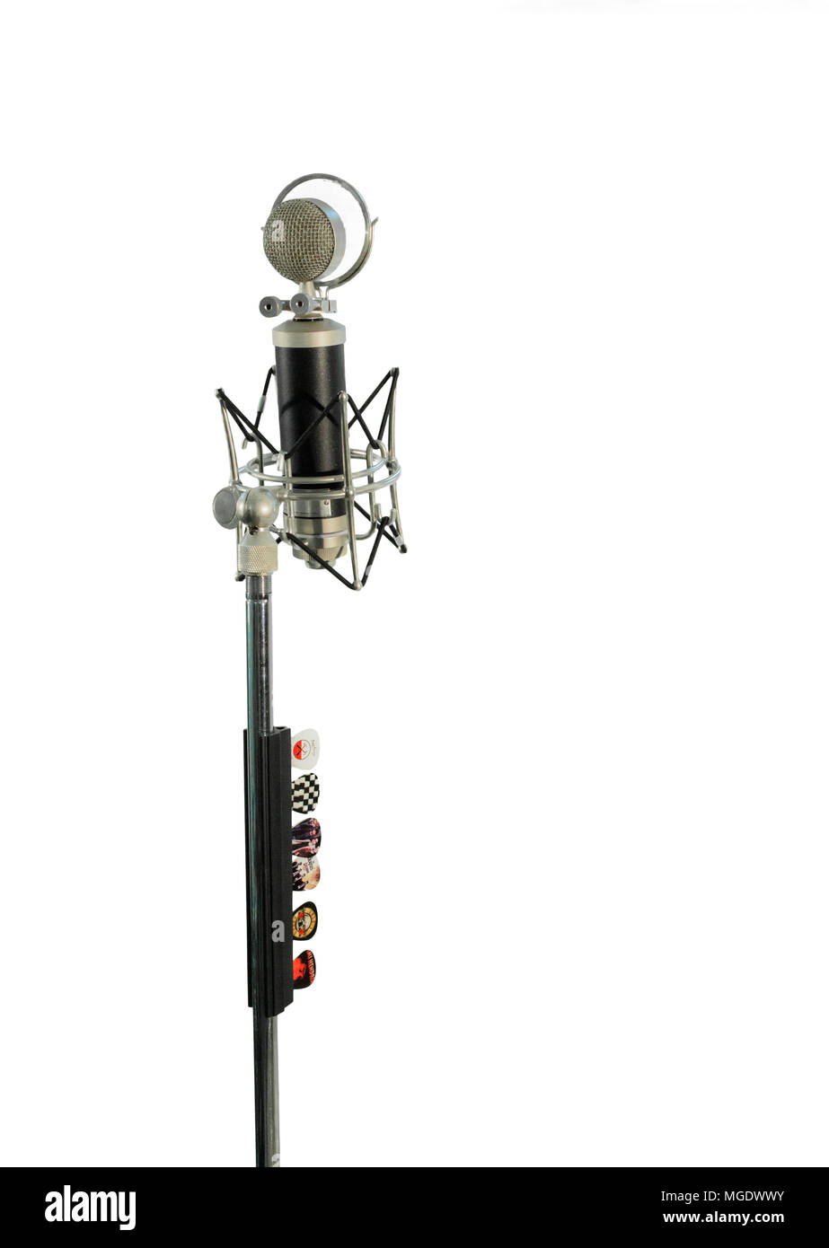Vocal condenser microphone with wind screen isolated on white background. - Stock Image