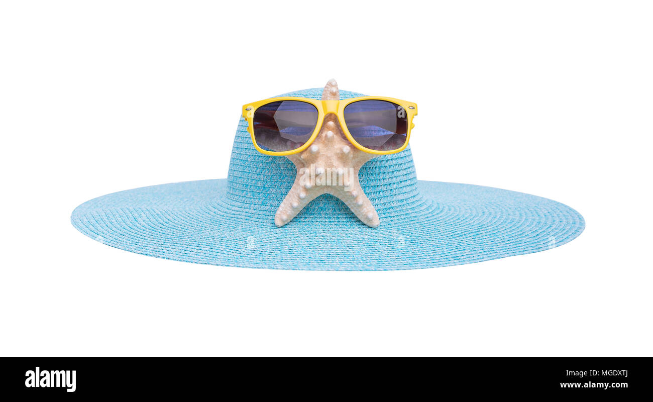 Sunglasses, starfish and hat. - Stock Image