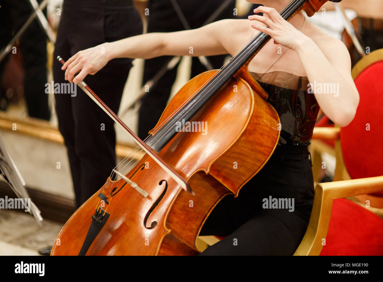 Photo of woman playing cello - Stock Image