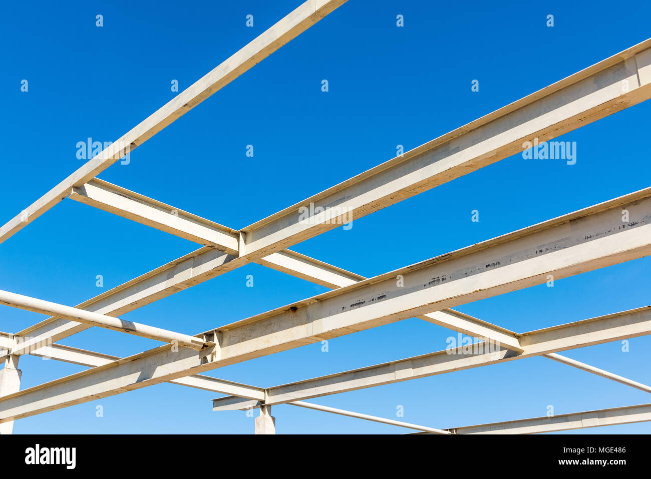 Steel structure and connecting joint for roofing., Steel frame. Stock Photo