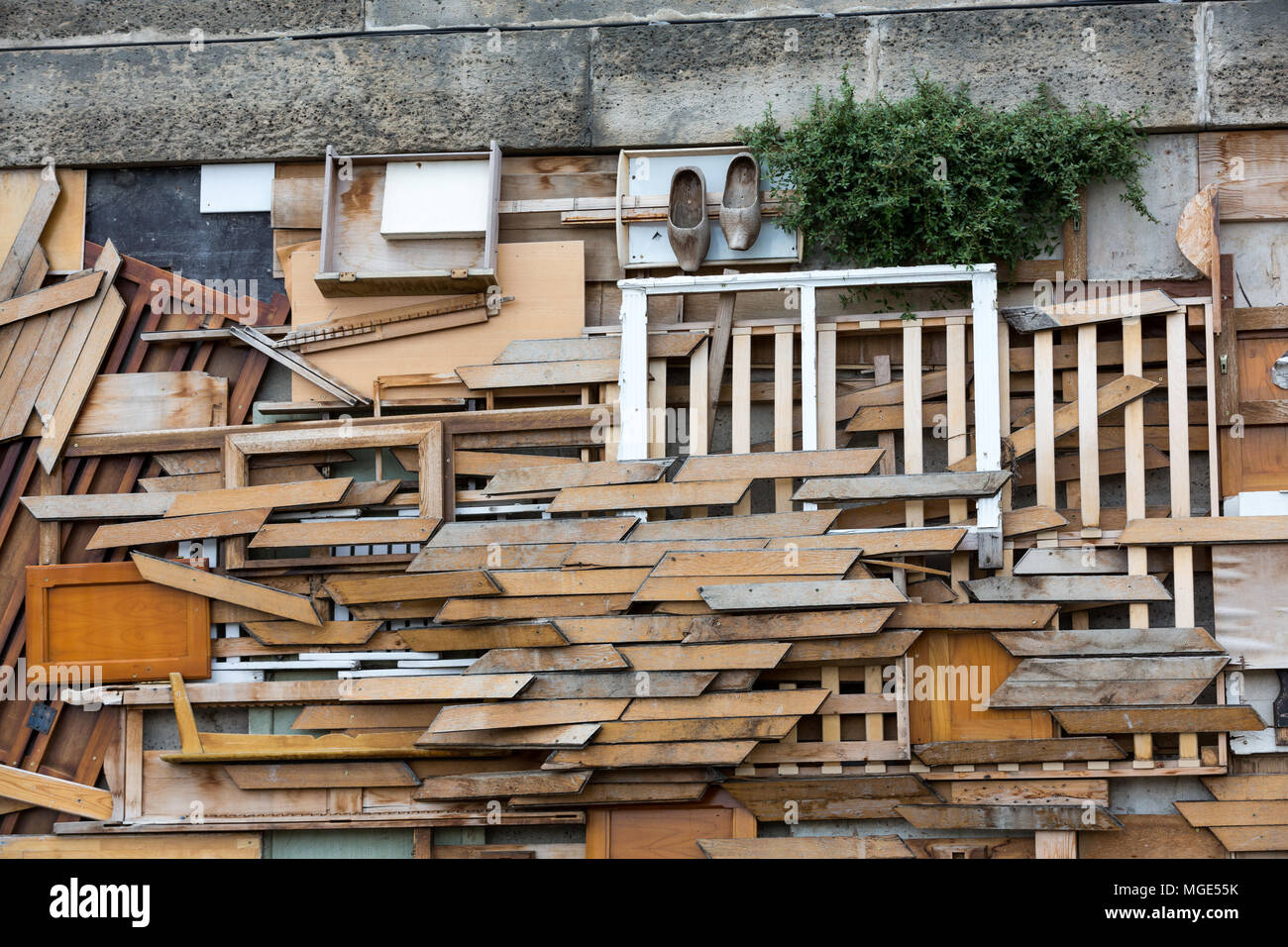 Paris  -   The artistic installation from waste of wood on the left river bank of Seine - Stock Image