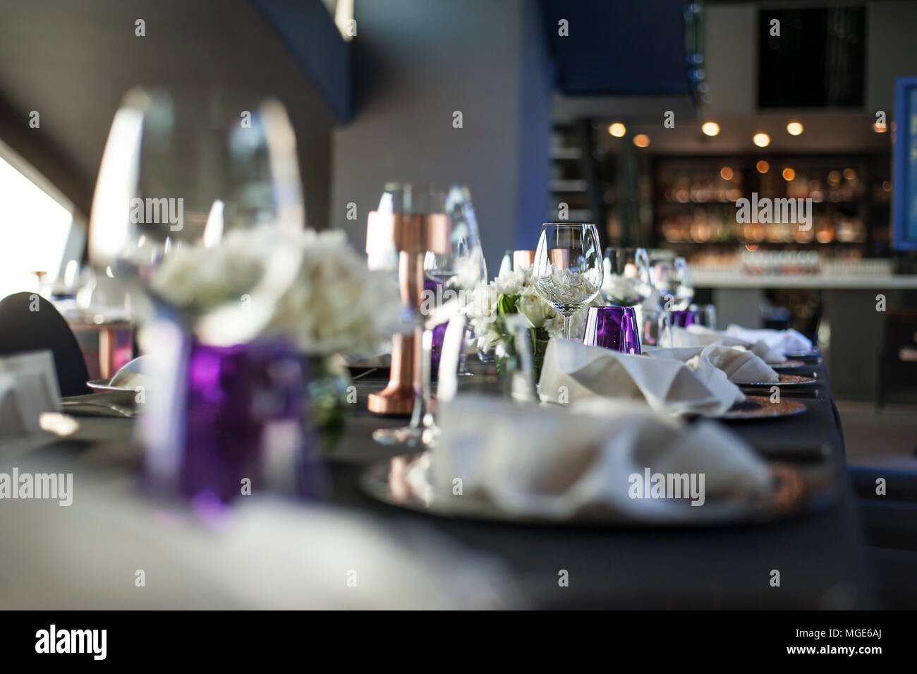 Table Setup At Dinner Party, Purple Color Theme