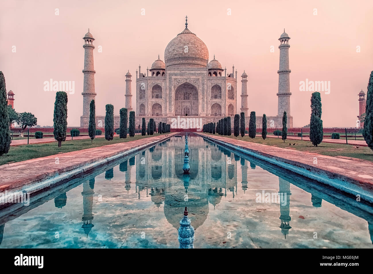 Taj Mahal in sunrise light, Agra, India - Stock Image