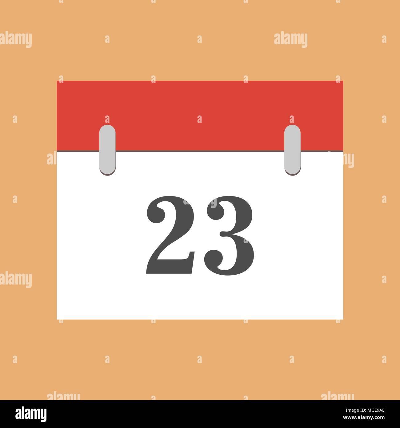 calendar icon flat 23. Simple calendar icon with 23 date eps 10 - Stock Vector