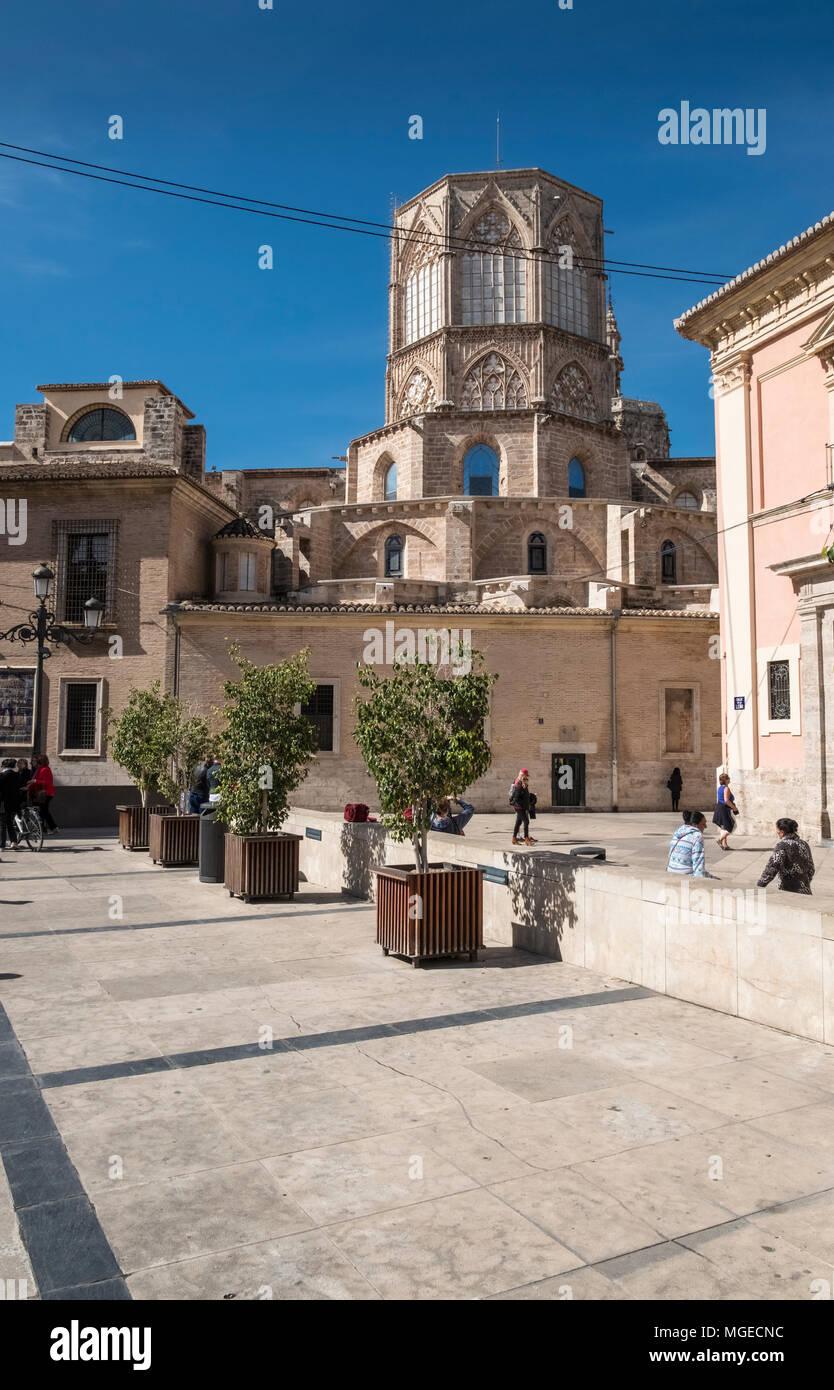 Plaza Decimo Junio Bruto, part of the old historical city centre in North Ciutat Vella district, Valencia, Spain. Stock Photo