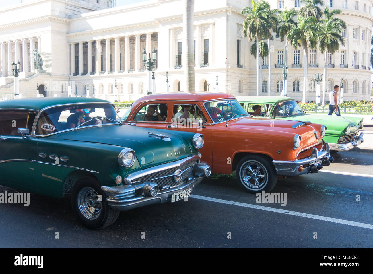 HAVANA, CUBA - JANUARY 16, 2017: A vintage car circulating in front ...