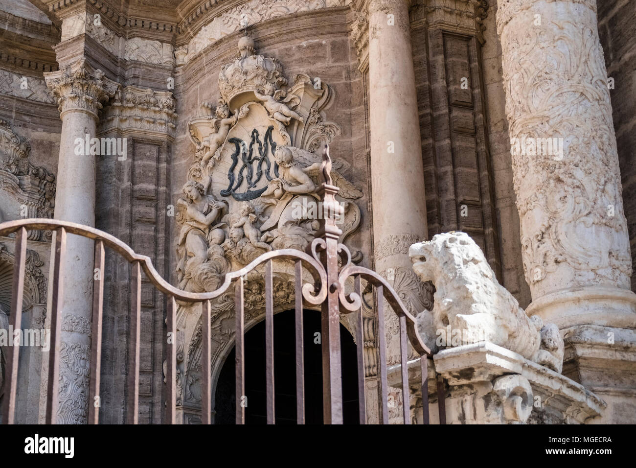 Close up detail of baroque style entrance to Valencia Cathedral, North Ciutat Vella district, Valencia, Spain - Stock Image