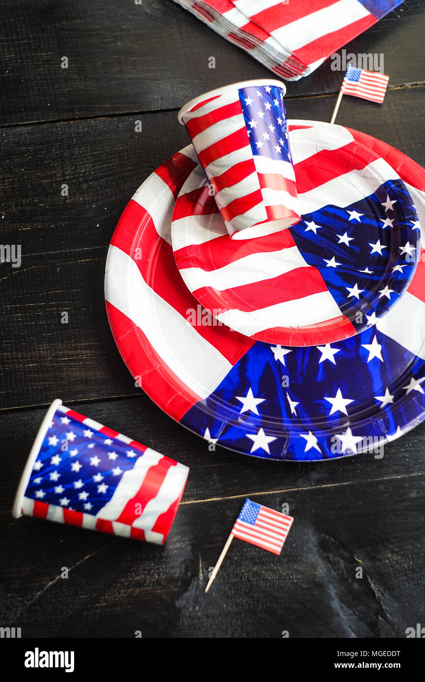 Table setting for 4th July celebration on USA Independence day Stock ...
