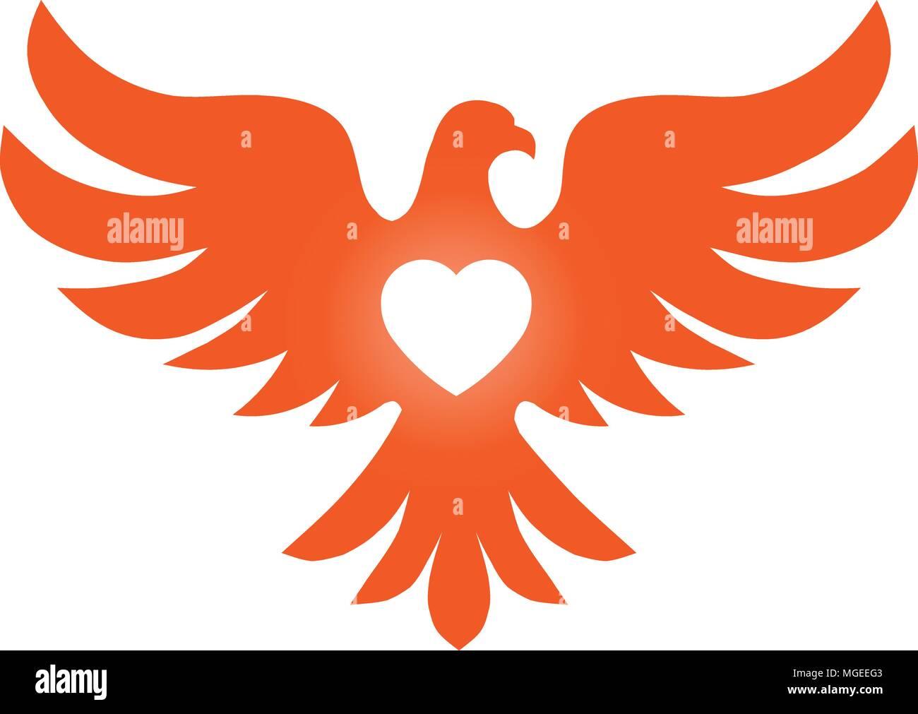 Bird With Heart Love Vector Logo Concept Bird Logo Vector Dove