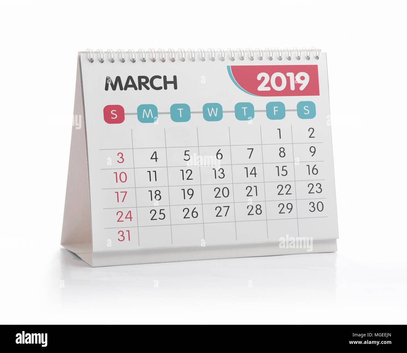 March White Office Calendar 2019 Isolated on White - Stock Image