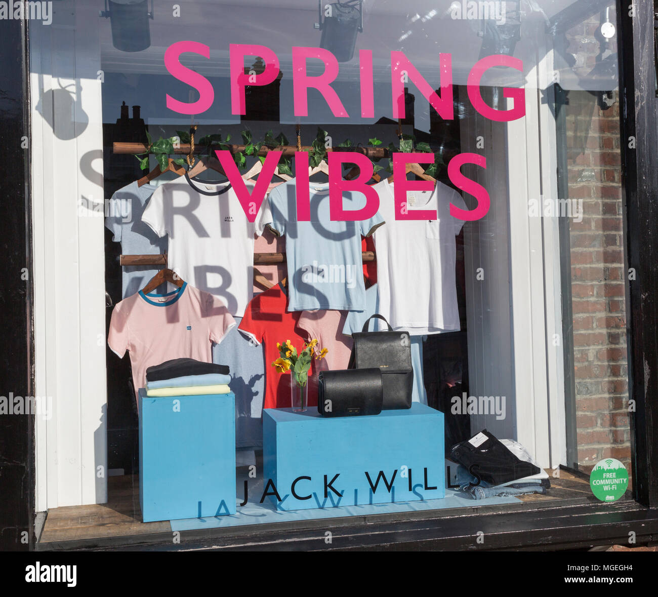 Spring Vibes at Jack Wills clothes fashion shop High Street, Marlborough, Wiltshire, England, UK - Stock Image